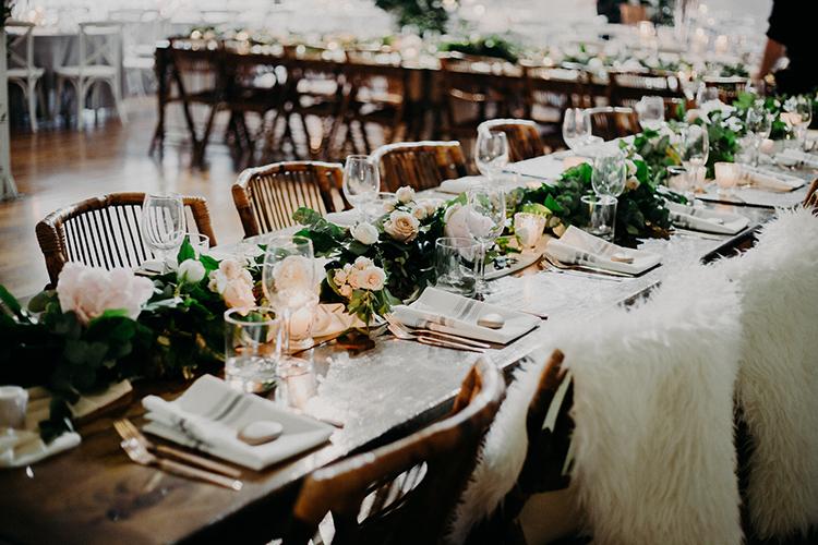 romantic winter wedding ideas - photo by Scarlet ONeill https://ruffledblog.com/industrial-space-meets-enchanted-forest-wedding