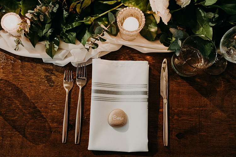 romantic place settings - photo by Scarlet ONeill https://ruffledblog.com/industrial-space-meets-enchanted-forest-wedding