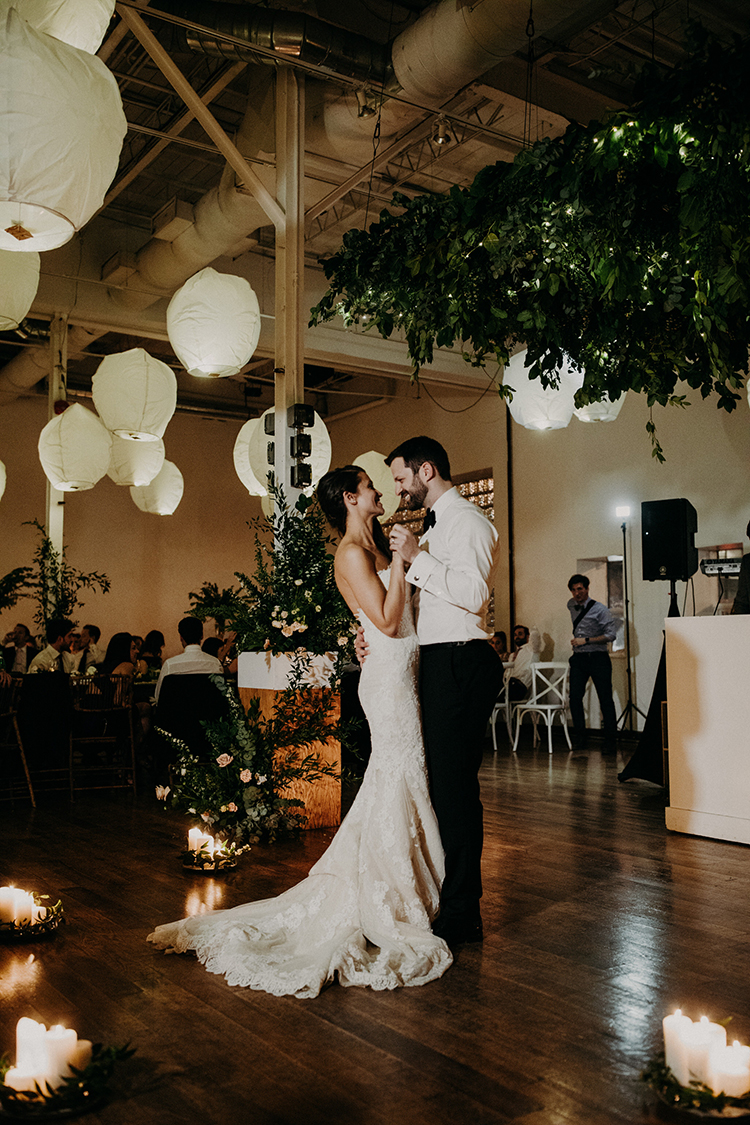 romantic industrial weddings - photo by Scarlet ONeill https://ruffledblog.com/industrial-space-meets-enchanted-forest-wedding