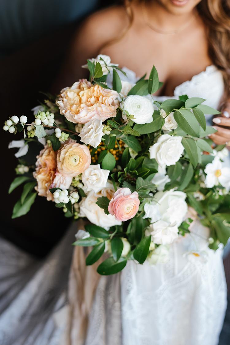 romantic garden wedding bouquets - photo by Mango Studios https://ruffledblog.com/industrial-wedding-in-toronto-with-an-enchanted-forest-reception
