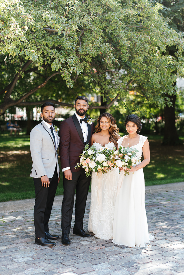 stylish wedding parties - photo by Mango Studios http://ruffledblog.com/industrial-wedding-in-toronto-with-an-enchanted-forest-reception