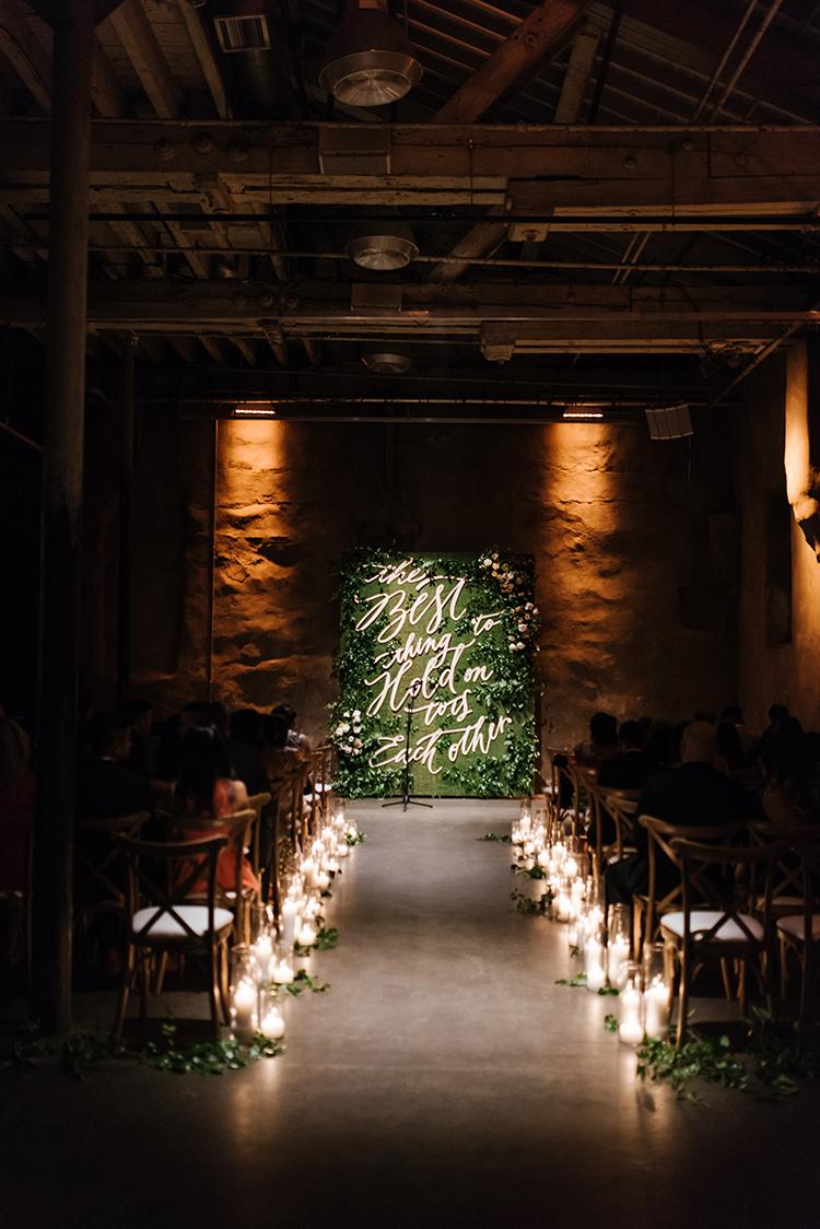 enchanted forest wedding ceremonies - photo by Mango Studios https://ruffledblog.com/industrial-wedding-in-toronto-with-an-enchanted-forest-reception