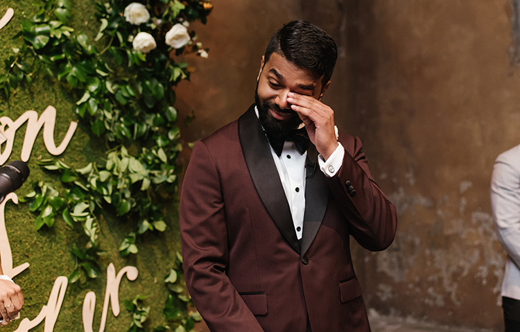 groom crying during ceremony - photo by Mango Studios https://ruffledblog.com/industrial-wedding-in-toronto-with-an-enchanted-forest-reception
