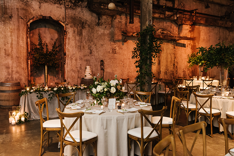 industrial wedding venues - photo by Mango Studios https://ruffledblog.com/industrial-wedding-in-toronto-with-an-enchanted-forest-reception