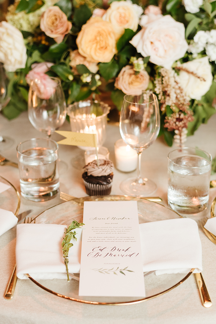 romantic wedding place settings - photo by Mango Studios https://ruffledblog.com/industrial-wedding-in-toronto-with-an-enchanted-forest-reception