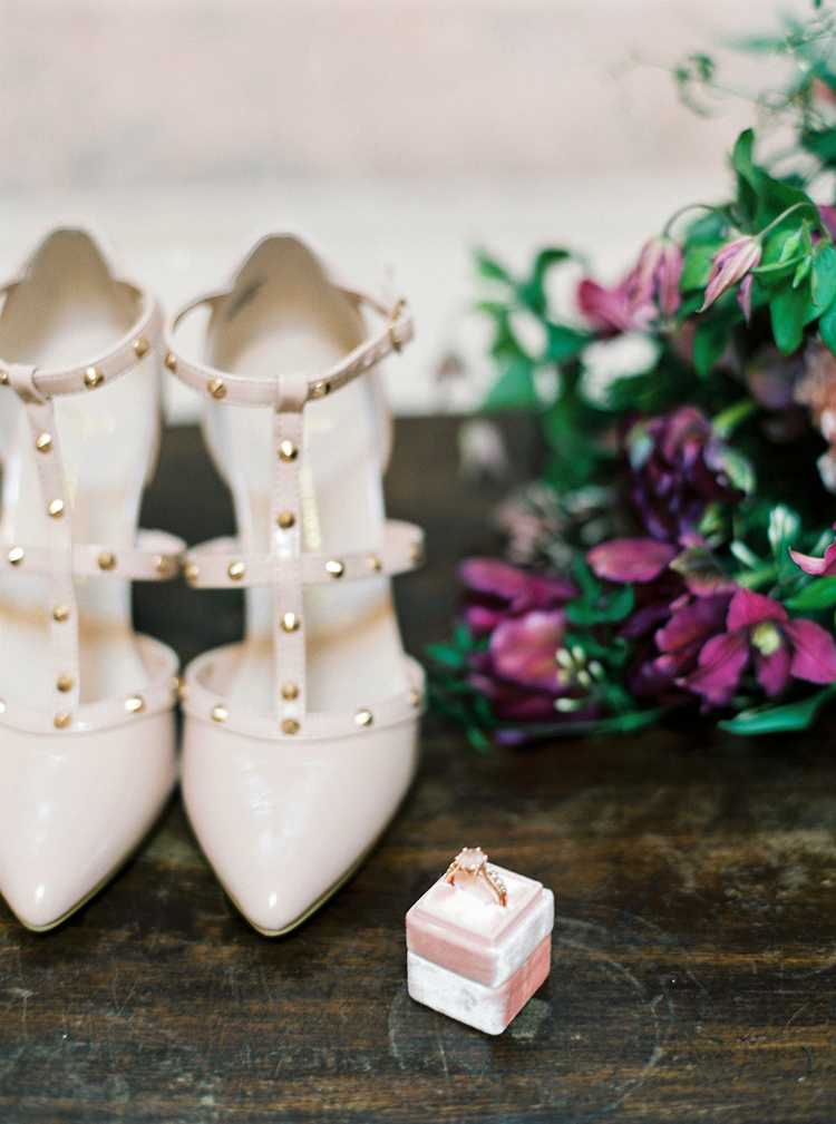 studded wedding shoes - photo by Studio Brown https://ruffledblog.com/industrial-wedding-shoot-in-dublin-with-serious-romantic-vibes