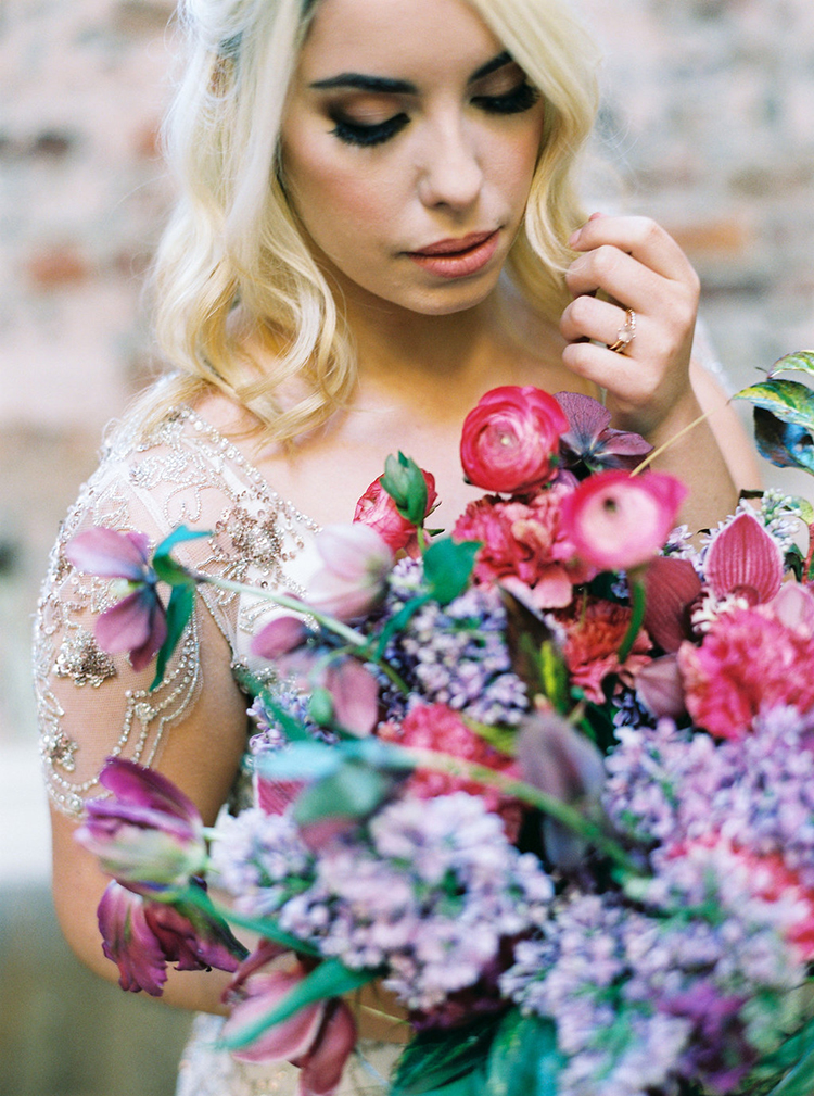 pink and purple wedding bouquets - photo by Studio Brown https://ruffledblog.com/industrial-wedding-shoot-in-dublin-with-serious-romantic-vibes