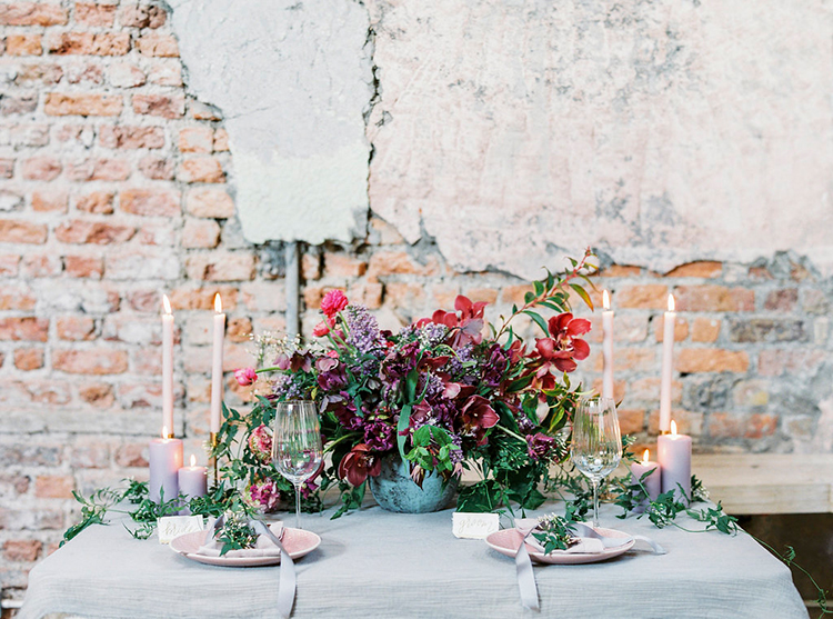 romantic wedding flowers - photo by Studio Brown https://ruffledblog.com/industrial-wedding-shoot-in-dublin-with-serious-romantic-vibes