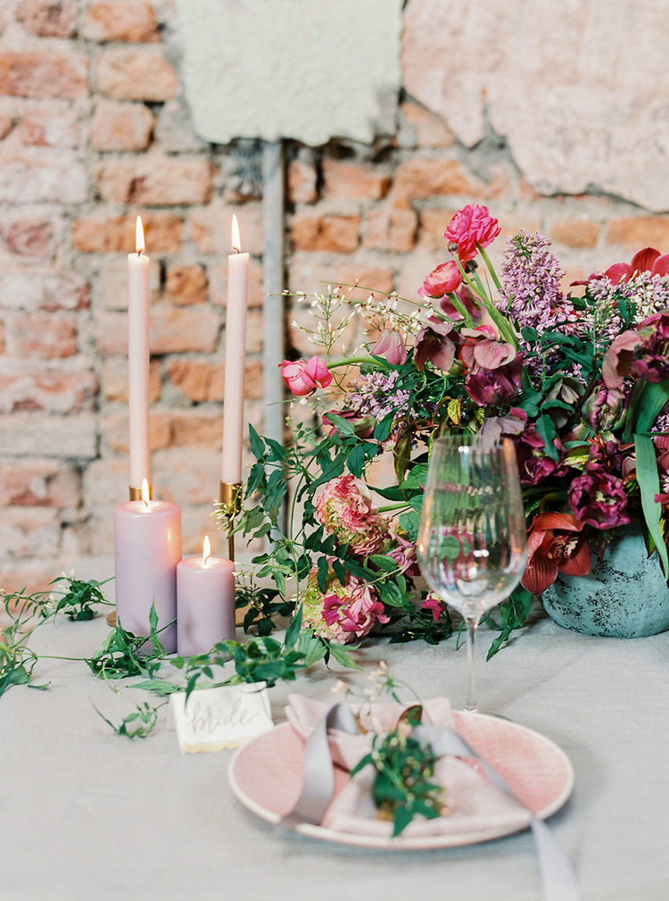 romantic tablescapes - photo by Studio Brown http://ruffledblog.com/industrial-wedding-shoot-in-dublin-with-serious-romantic-vibes