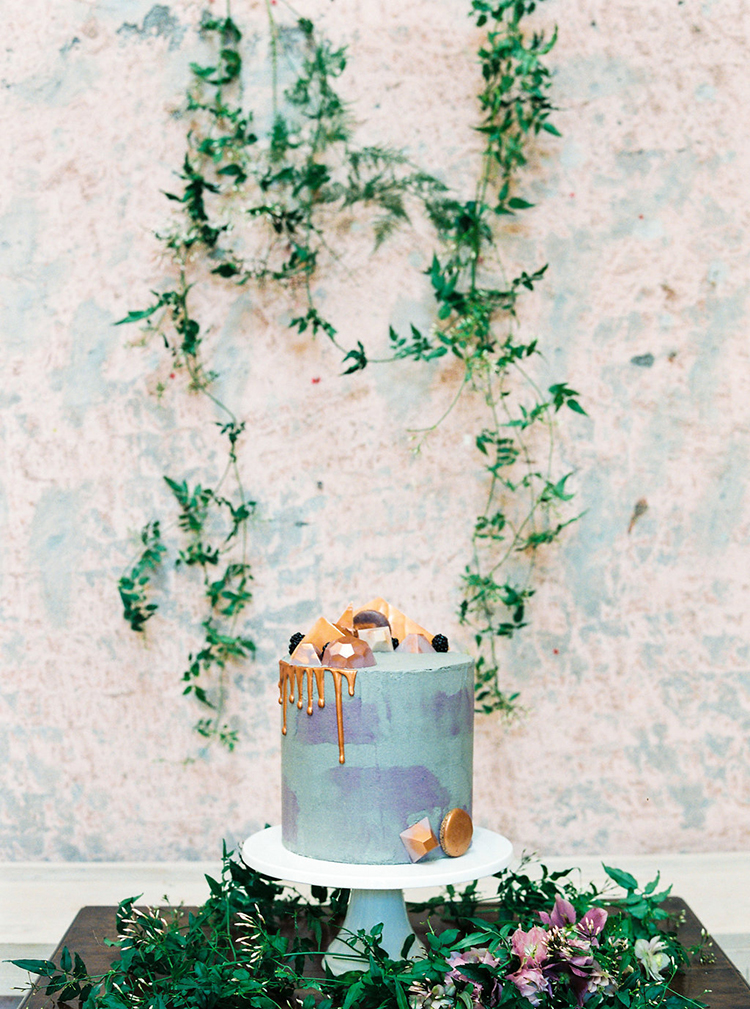blue and purple wedding cakes - photo by Studio Brown https://ruffledblog.com/industrial-wedding-shoot-in-dublin-with-serious-romantic-vibes