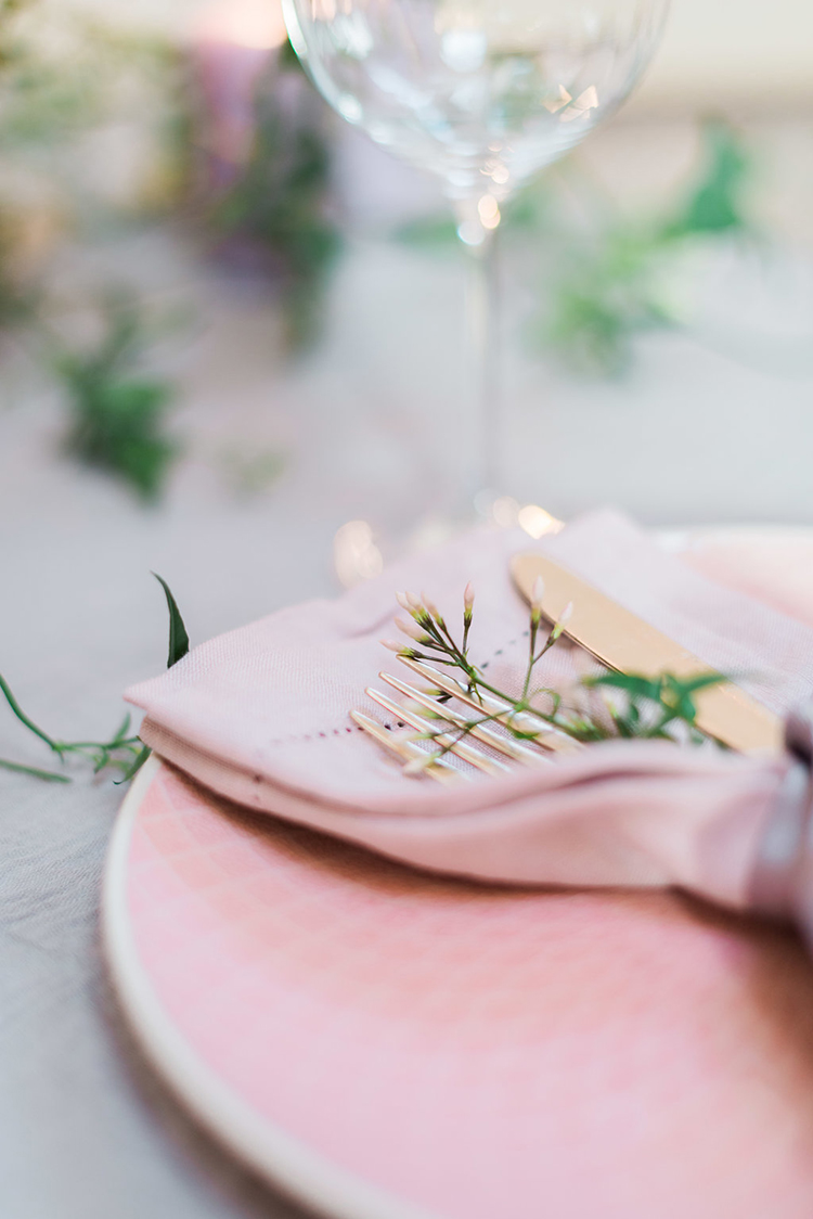 pink wedding plates - photo by Studio Brown https://ruffledblog.com/industrial-wedding-shoot-in-dublin-with-serious-romantic-vibes