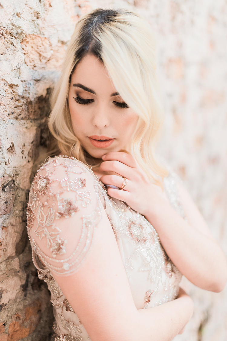 romantic Jenny Packham wedding gown - photo by Studio Brown https://ruffledblog.com/industrial-wedding-shoot-in-dublin-with-serious-romantic-vibes