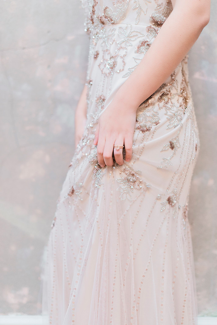 Jenny Packham wedding dress detailing - photo by Studio Brown https://ruffledblog.com/industrial-wedding-shoot-in-dublin-with-serious-romantic-vibes