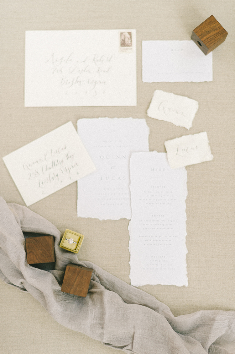 wedding invitations - photo by Elizabeth Fogarty http://ruffledblog.com/soft-wedding-inspiration-in-oatmeal-and-gray