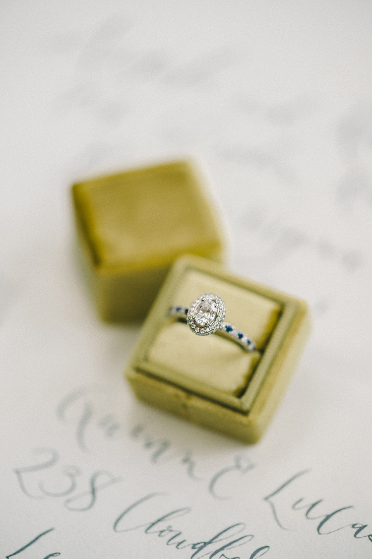 green ring boxes - photo by Elizabeth Fogarty http://ruffledblog.com/soft-wedding-inspiration-in-oatmeal-and-gray