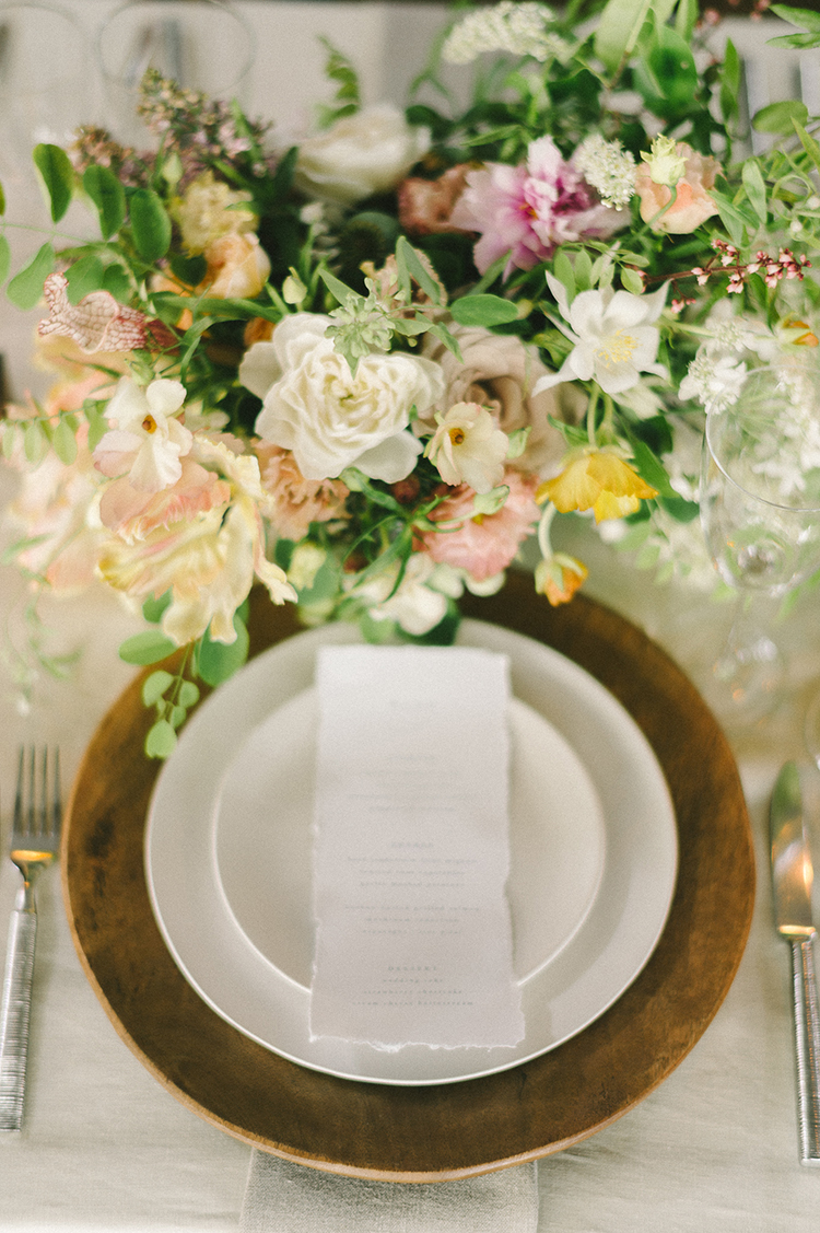 romantic place settings - photo by Elizabeth Fogarty http://ruffledblog.com/soft-wedding-inspiration-in-oatmeal-and-gray