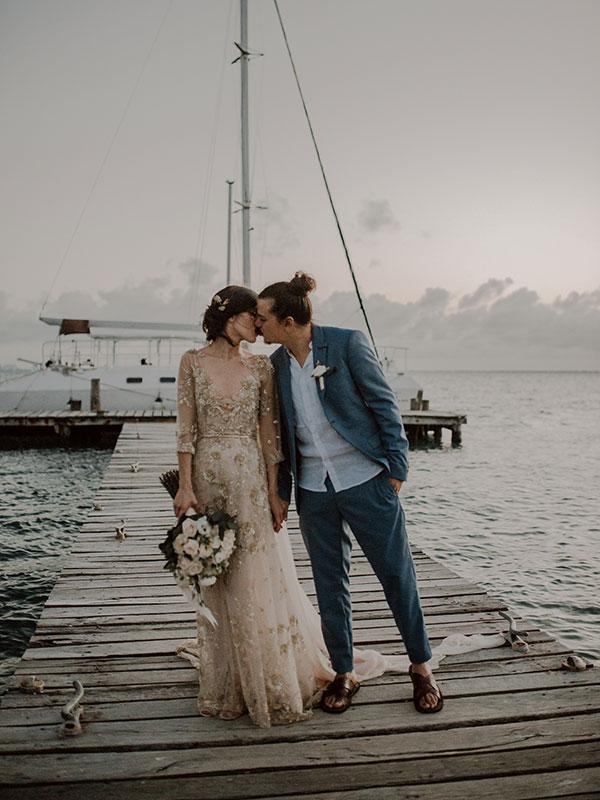 The Bride Made Her Brilliant Gold Gown Herself! #uniqueweddingdresses #weddinggownswithcolor #destinationweddingideas