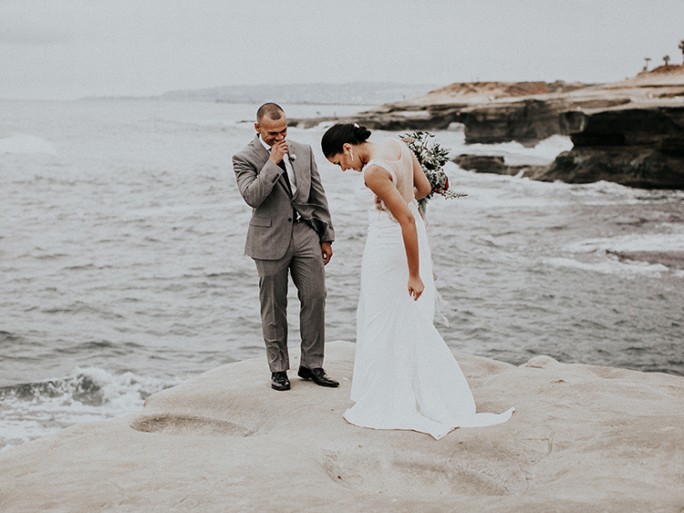 La Jolla cliffs wedding first looks - http://ruffledblog.com/intimate-modern-romantic-wedding-celebration-the-ceremony