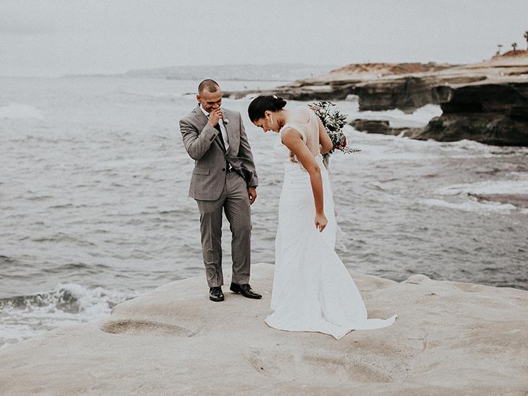 La Jolla cliffs wedding first looks - https://ruffledblog.com/intimate-modern-romantic-wedding-celebration-the-ceremony