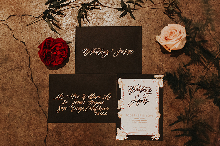 dramatic wedding invitations - https://ruffledblog.com/intimate-modern-romantic-wedding-celebration-the-reception