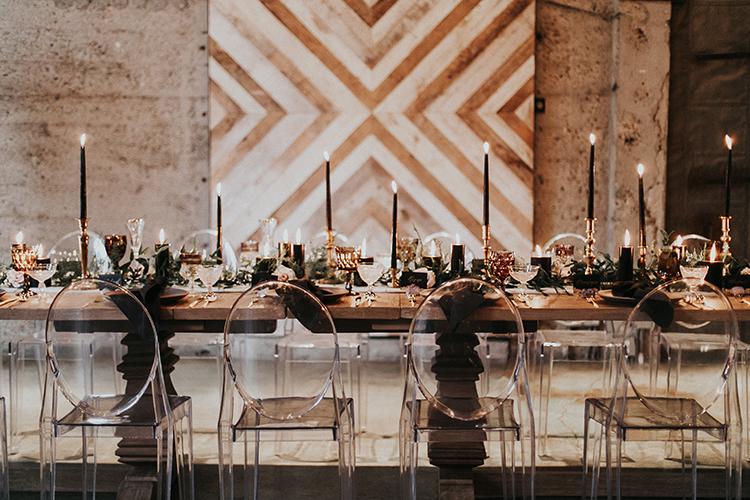 modern wedding backdrops - http://ruffledblog.com/intimate-modern-romantic-wedding-celebration-the-reception