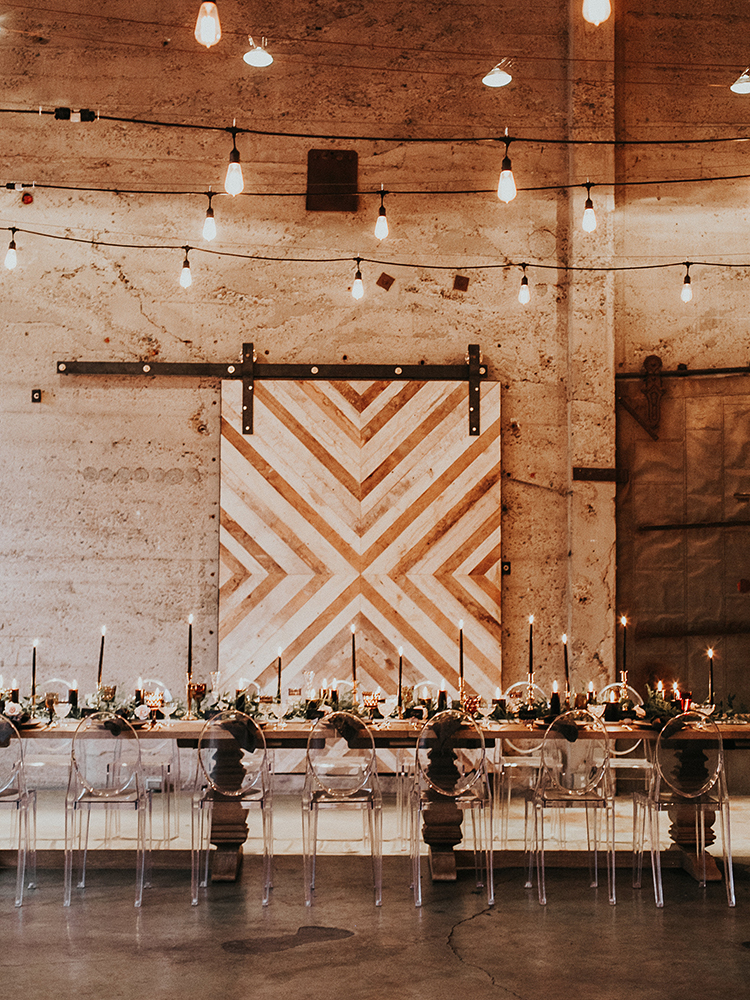 gold industrial modern wedding inspiration - https://ruffledblog.com/intimate-modern-romantic-wedding-celebration-the-reception