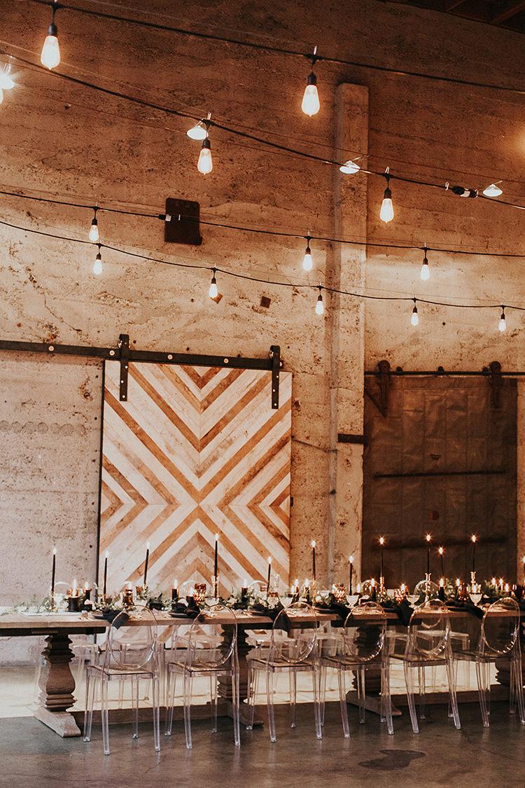 modern geometric backdrop ideas - http://ruffledblog.com/intimate-modern-romantic-wedding-celebration-the-reception