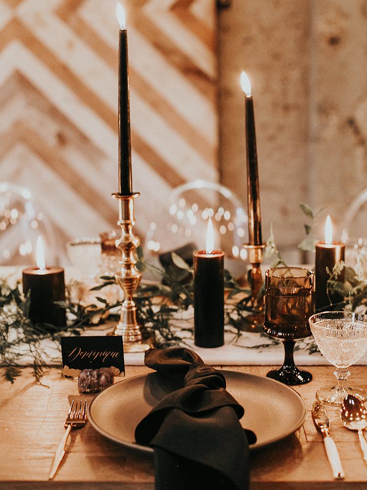 moody and modern wedding tablescapes - http://ruffledblog.com/intimate-modern-romantic-wedding-celebration-the-reception