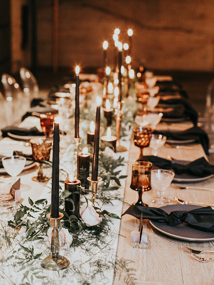 moody tablescape inspiration - https://ruffledblog.com/intimate-modern-romantic-wedding-celebration-the-reception