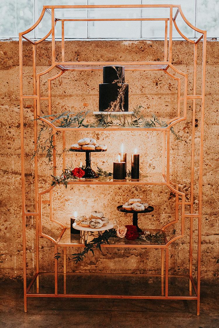 modern geometric cake table ideas - http://ruffledblog.com/intimate-modern-romantic-wedding-celebration-the-reception