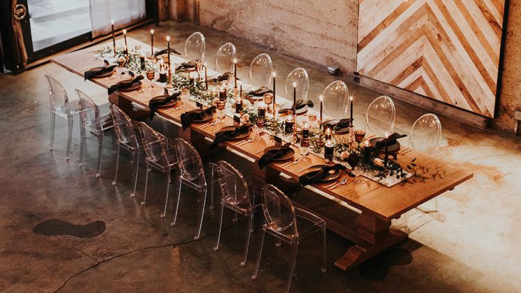 modern industrial wedding venues - http://ruffledblog.com/intimate-modern-romantic-wedding-celebration-the-reception
