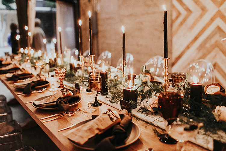 modern industrial wedding inspiration - https://ruffledblog.com/intimate-modern-romantic-wedding-celebration-the-reception