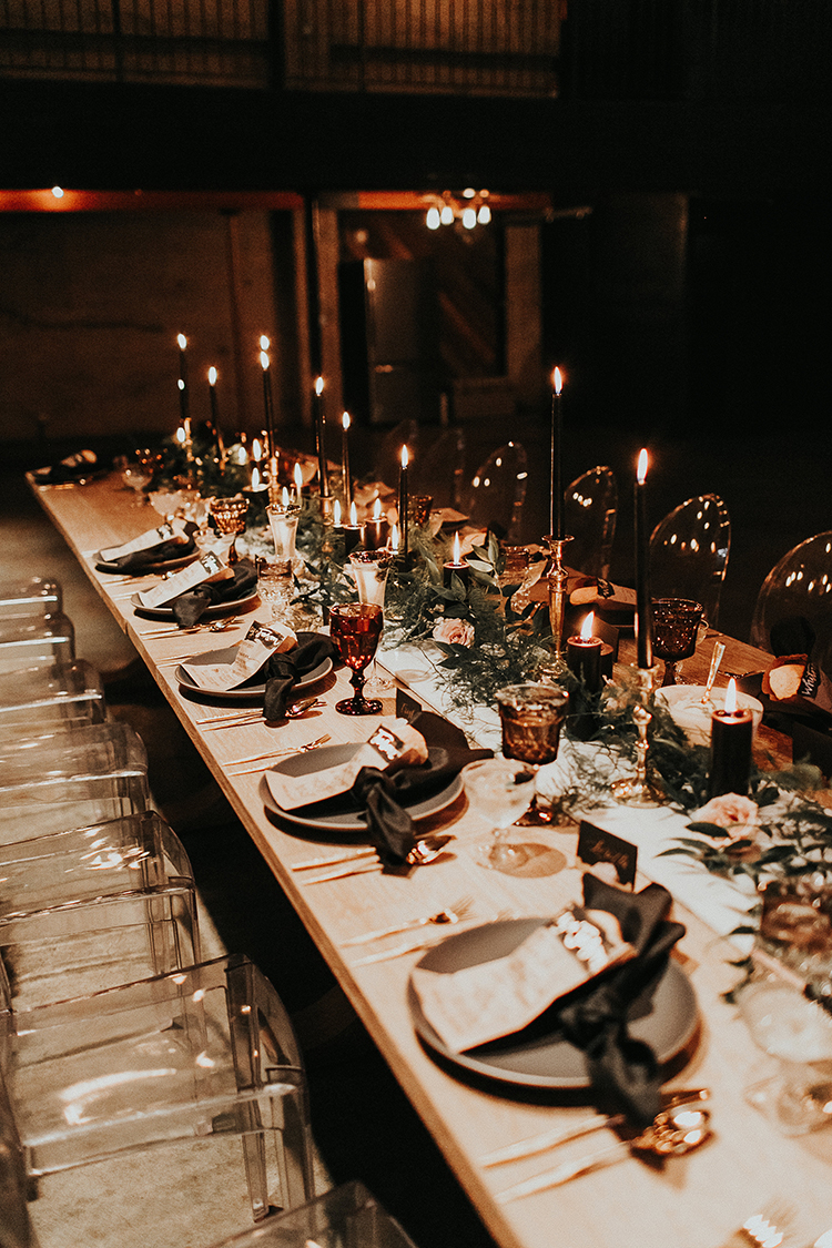 moody wedding tables - https://ruffledblog.com/intimate-modern-romantic-wedding-celebration-the-reception