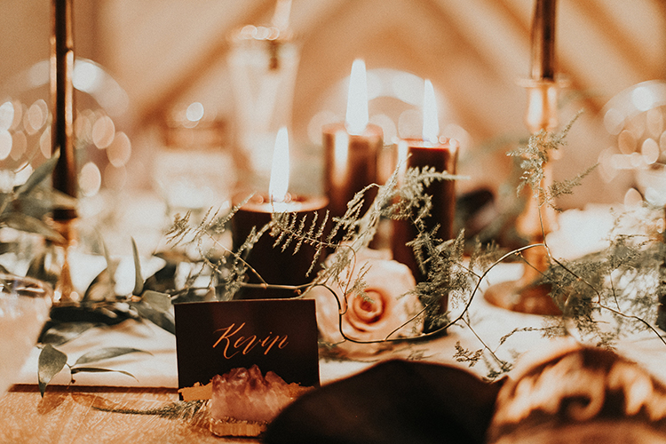 moody romantic wedding tablescapes - https://ruffledblog.com/intimate-modern-romantic-wedding-celebration-the-reception