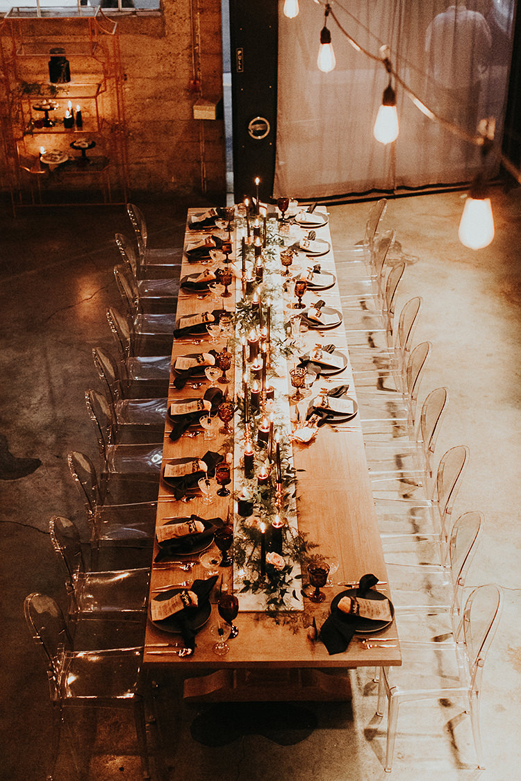 industrial modern wedding receptions - https://ruffledblog.com/intimate-modern-romantic-wedding-celebration-the-reception