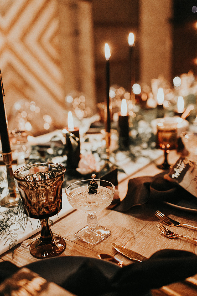 moody tablescape inspo - https://ruffledblog.com/intimate-modern-romantic-wedding-celebration-the-reception