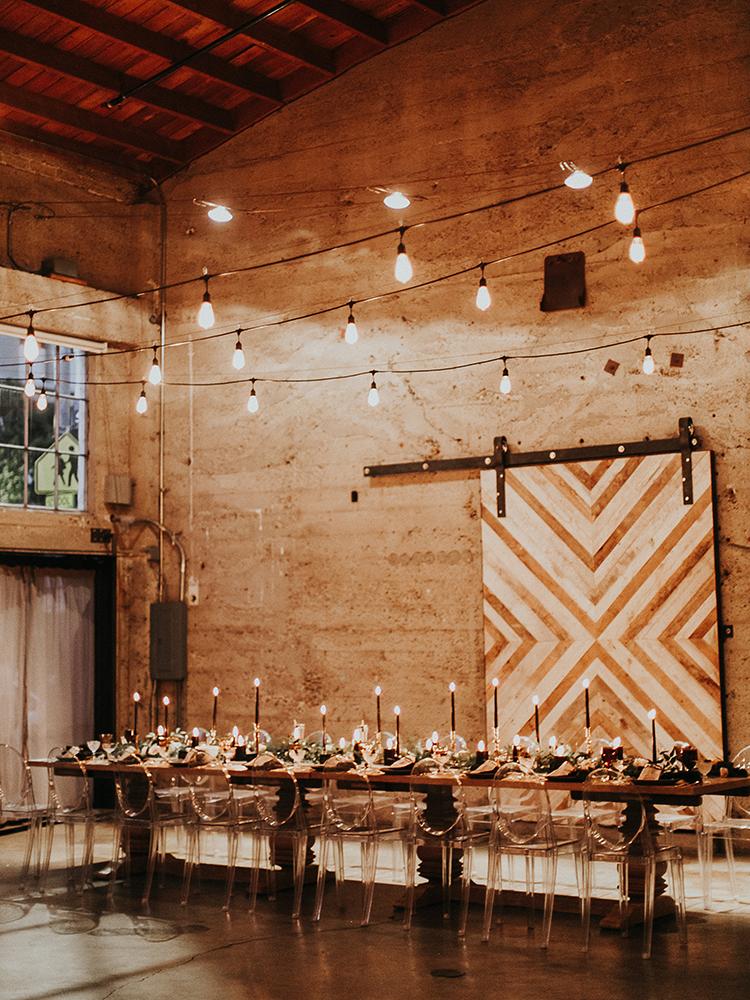 industrial modern wedding receptions - http://ruffledblog.com/intimate-modern-romantic-wedding-celebration-the-reception