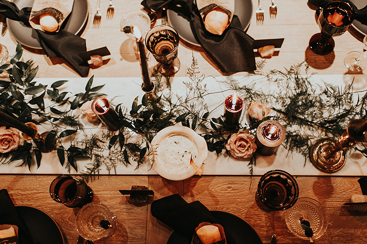 winter tablescape ideas - https://ruffledblog.com/intimate-modern-romantic-wedding-celebration-the-reception