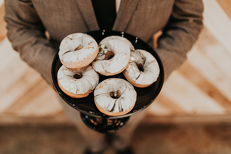 marbled donuts - https://ruffledblog.com/intimate-modern-romantic-wedding-celebration-the-reception
