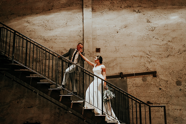 industrial wedding inspiration - http://ruffledblog.com/intimate-modern-romantic-wedding-celebration-the-reception