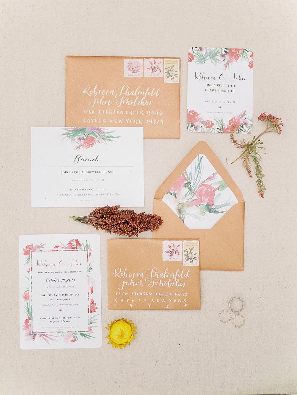 floral and terra-cotta invitation suite