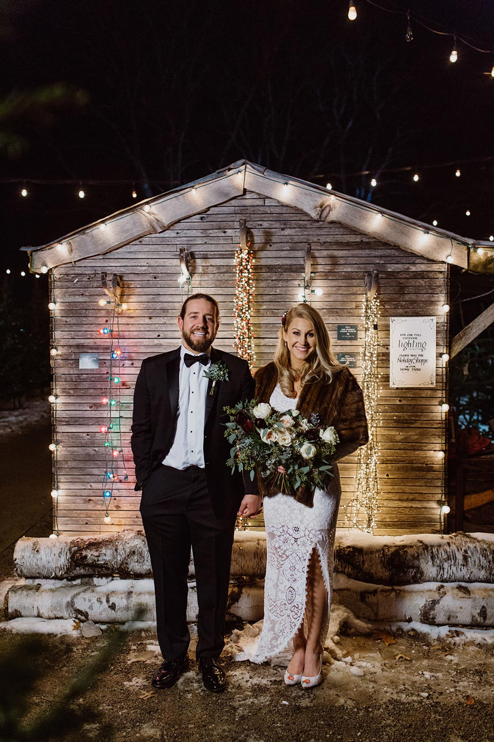 garden shed wedding lace bridal gown and black groom tux
