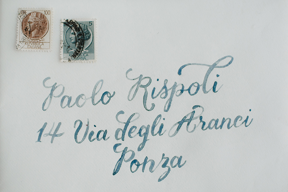 watercolor wedding invitation - photo by Monica Leggio https://ruffledblog.com/italian-island-elopement-inspiration