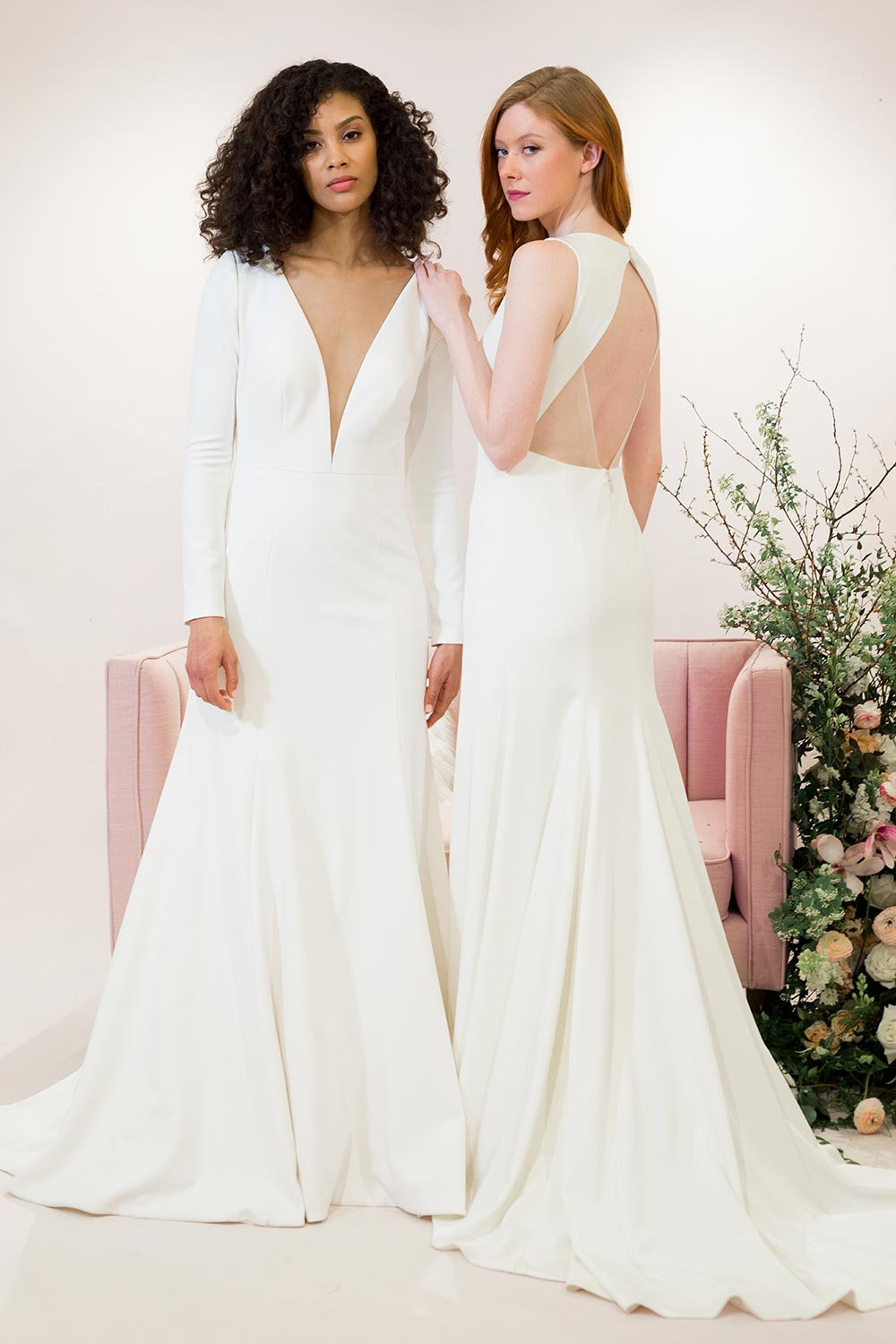 plunging v-neck long sleeve wedding dress and sleek backless wedding dress