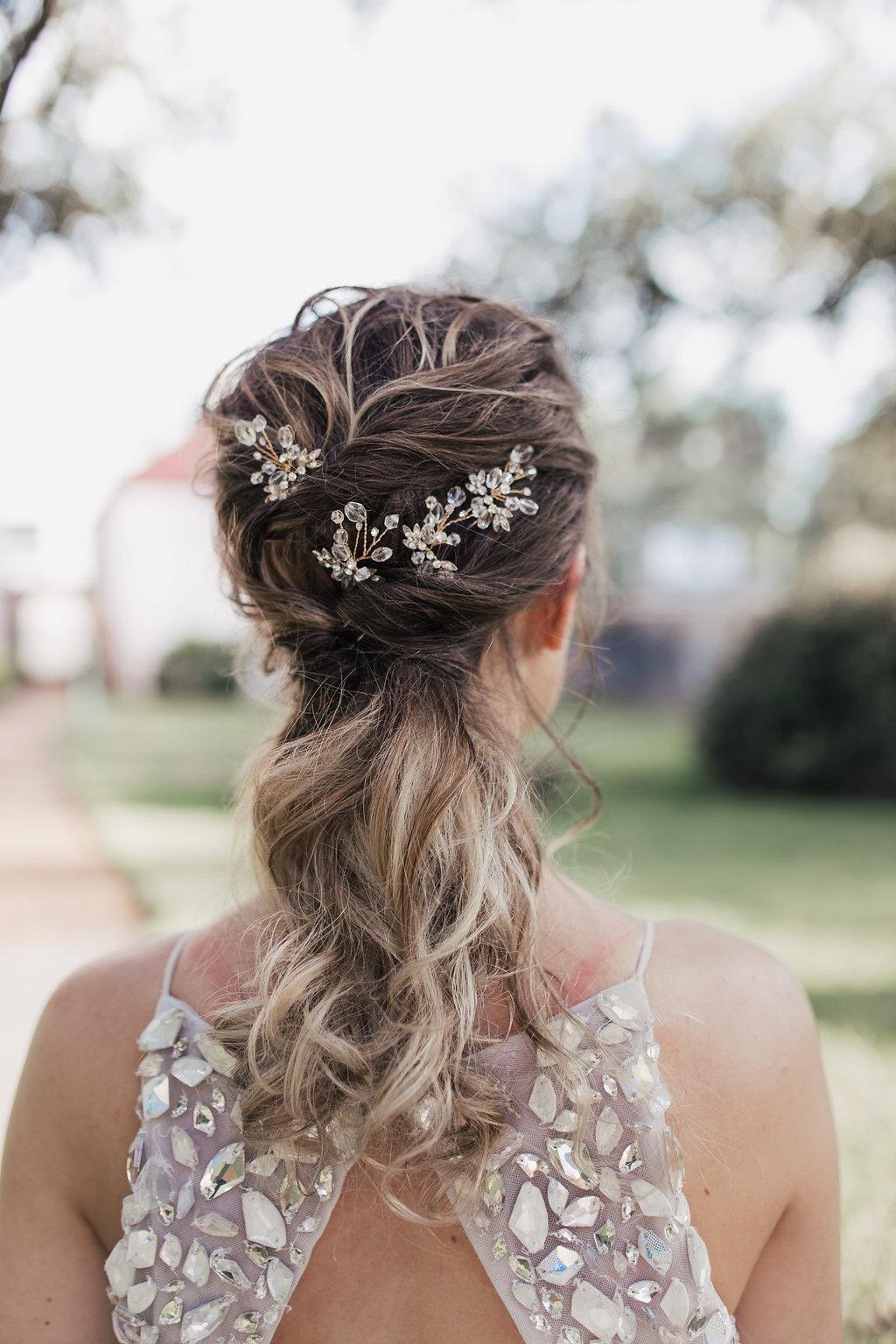 glam wedding hair details - photo by Alondra Vega Photography https://ruffledblog.com/jewel-toned-wedding-ideas-with-a-surprise-proposal