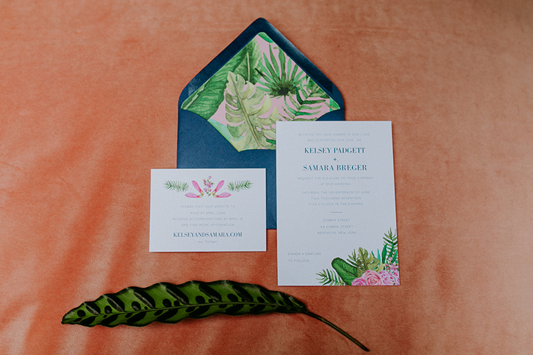 tropical inspired wedding invitations - photo by Amber Gress Photography http://ruffledblog.com/jurassic-park-meets-the-golden-girls-for-this-brooklyn-wedding