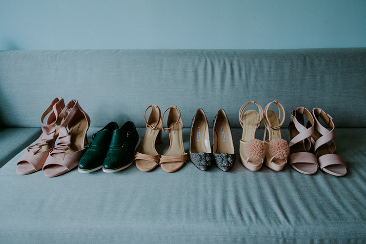 bridesmaid shoes - photo by Amber Gress Photography http://ruffledblog.com/jurassic-park-meets-the-golden-girls-for-this-brooklyn-wedding