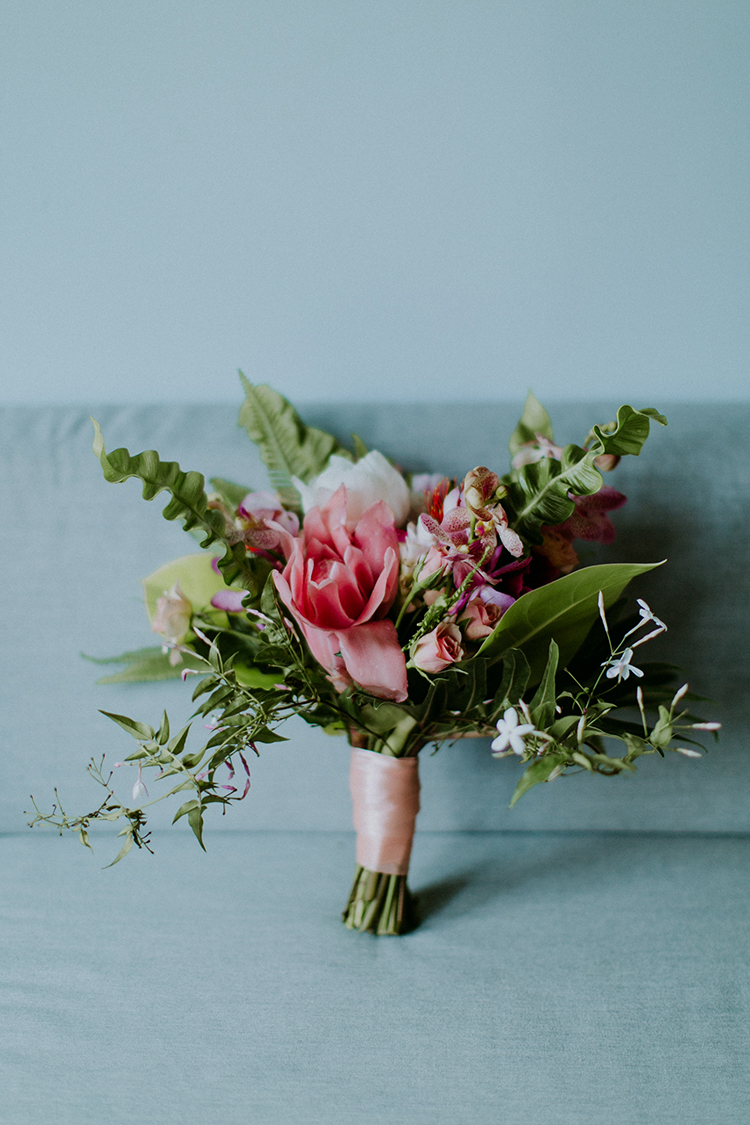 soft pink wedding bouquets - photo by Amber Gress Photography http://ruffledblog.com/jurassic-park-meets-the-golden-girls-for-this-brooklyn-wedding