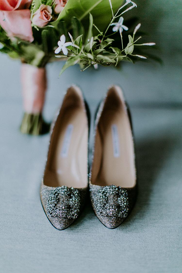 Manolo Blahnik wedding shoes - photo by Amber Gress Photography http://ruffledblog.com/jurassic-park-meets-the-golden-girls-for-this-brooklyn-wedding