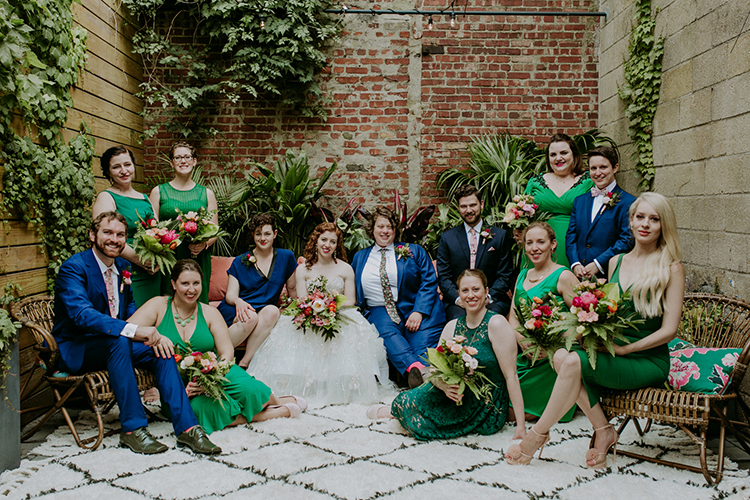 wedding party portraits - photo by Amber Gress Photography https://ruffledblog.com/jurassic-park-meets-the-golden-girls-for-this-brooklyn-wedding